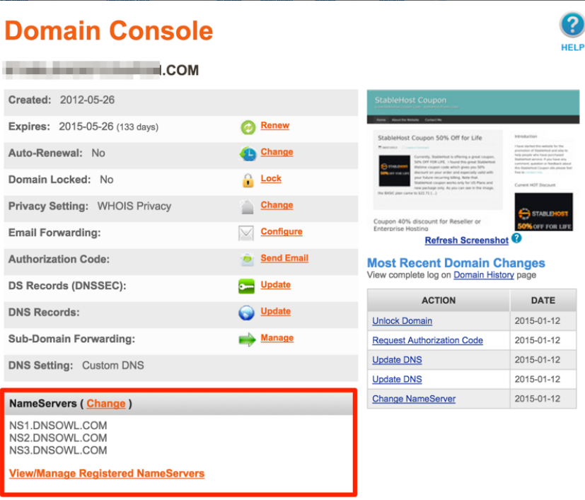 NameSilo Domain Console