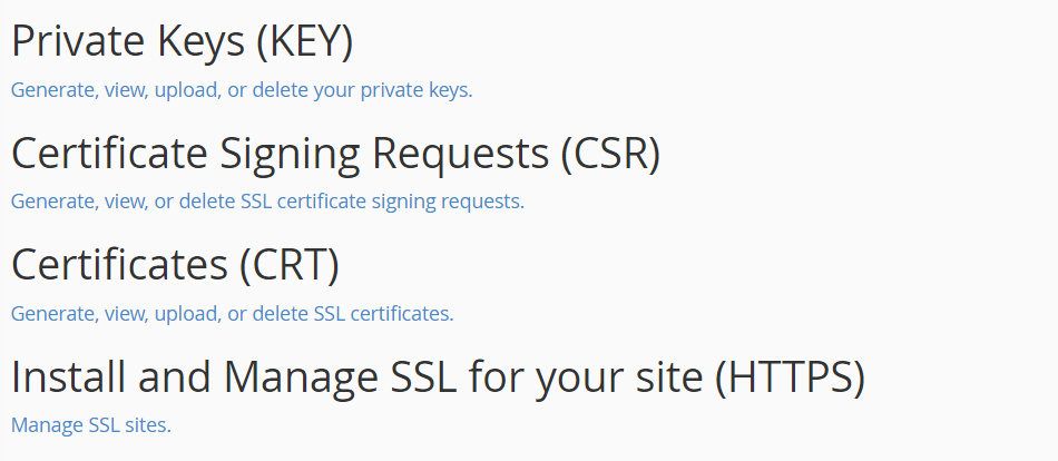 Manage SSL sites