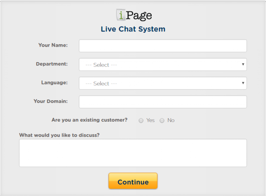 iPage Live chat system