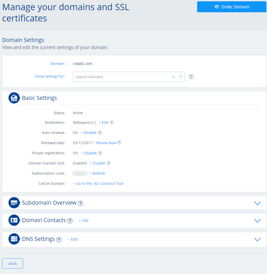 manage domain and ssl certificate