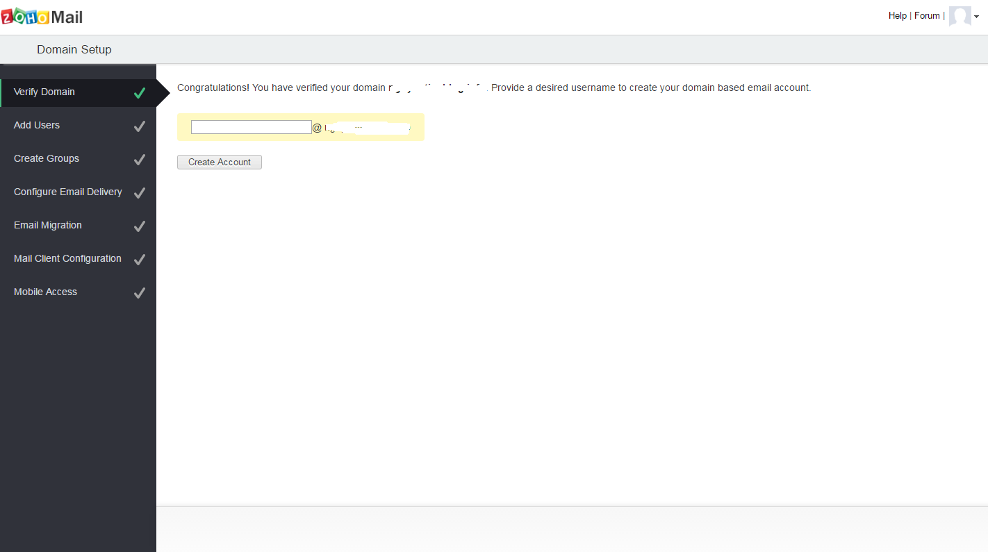 zoho create email account