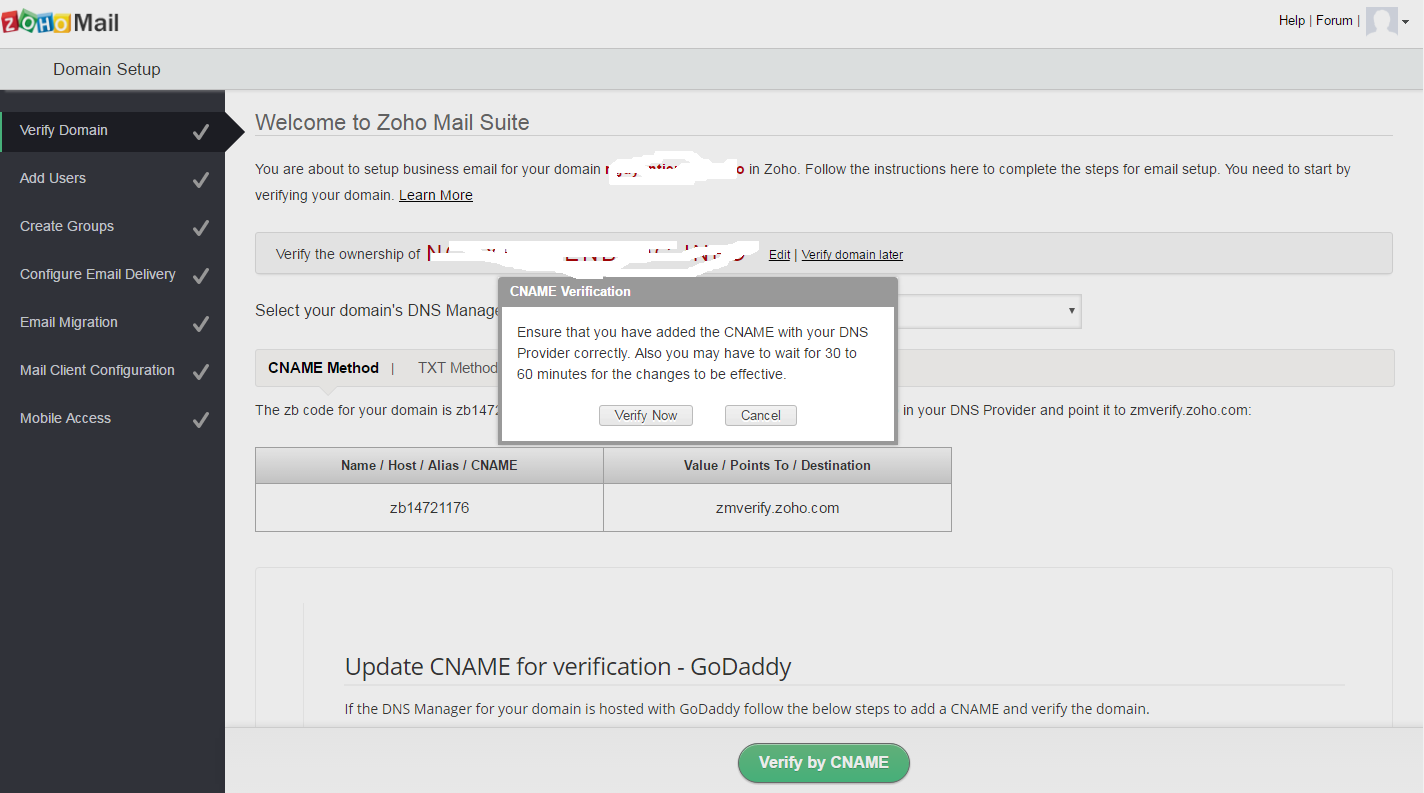 Zoho verify cname 3