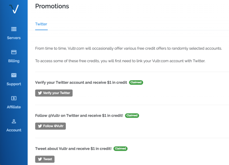 Vultr twitter 3 usd promotion